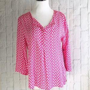 Pink Chevron Print Blouse